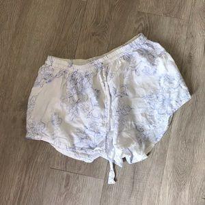 Piyama white blue lounge pajama shorts